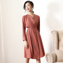 цена Solid long sleeve party slim a line dress 2019 new v-neck women spring dress