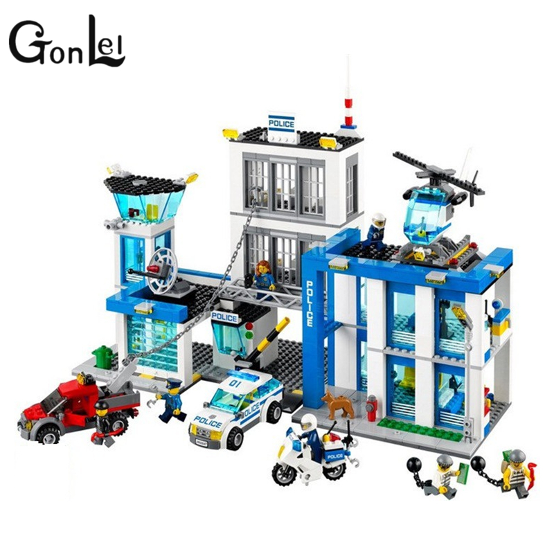 GonLeI Bela 10424 City Police Station building bricks blocks Toys for children boys Game Team Castle Compatible with 60047 compatible lepin city block police dog unit 60045 building bricks bela 10419 policeman toys for children 011