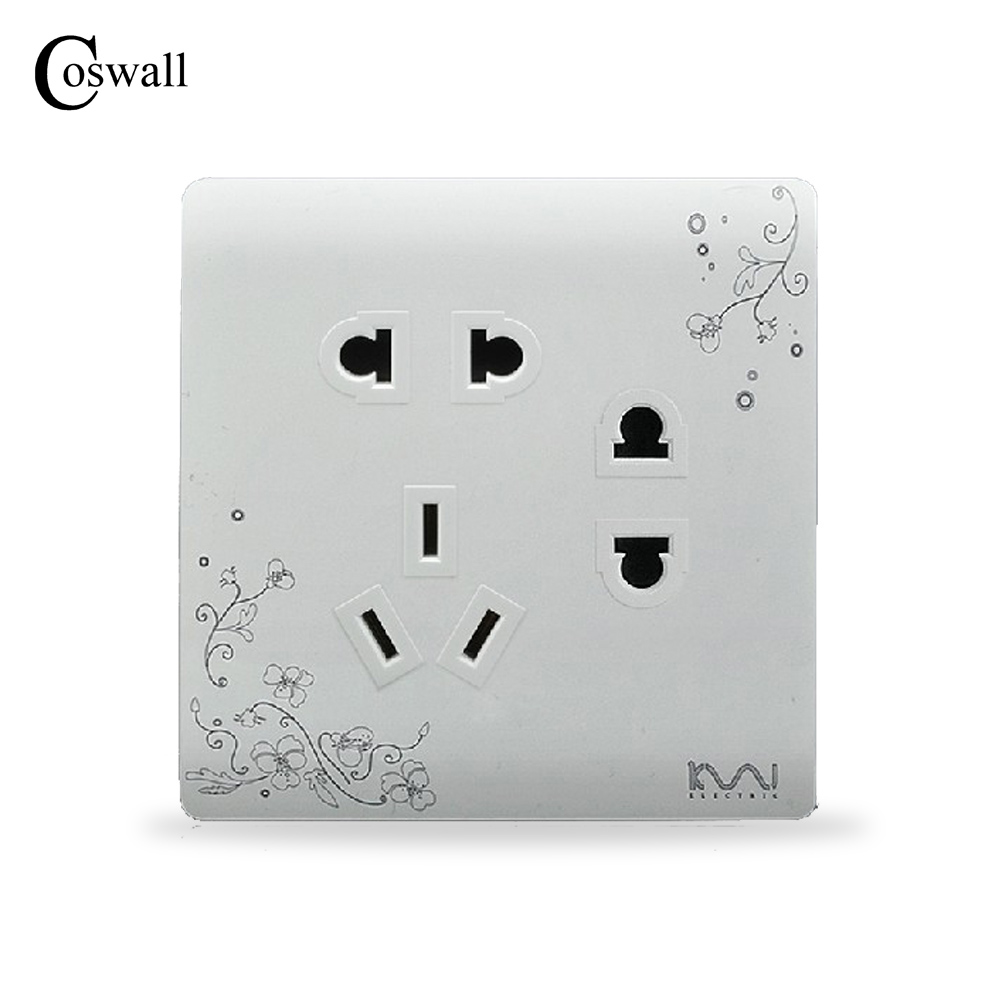 COSWALL Fashion Wall Electrical Socket 7 Hole Power Outlet Brief White Art Flower Pattern Panel AC 110~250V