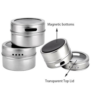 Image 3 - 12pcs/set Clear Lid Magnetic Spice Tin Jar Stainless Steel Spice Sauce Storage Container Jars Kitchen Condiment Holder Housewa