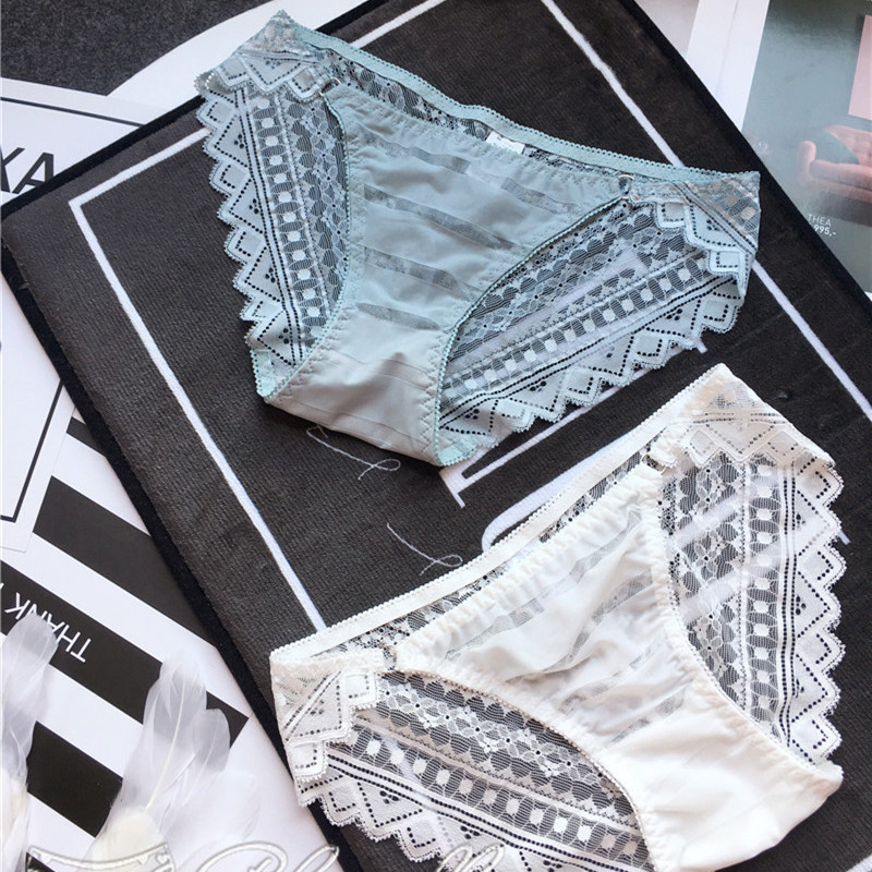 SP&CITY European Transparent Lace Panties For Women Hollow Out Female Underwear Thong Cotton Seamless Briefs Solid Sexy Lingerie
