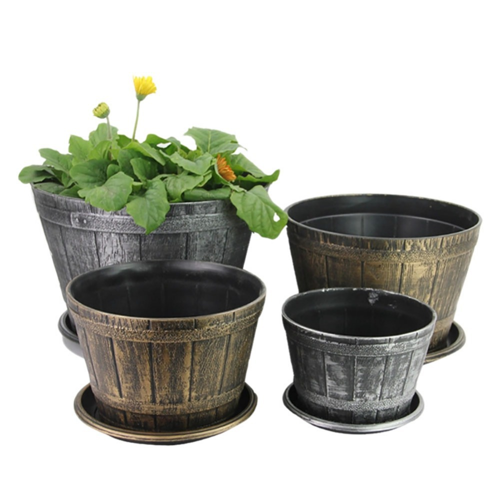 roman style retro planter ancient flower pot with saucer-in flower
