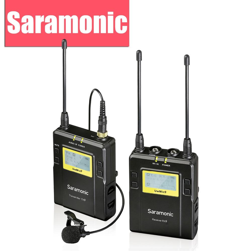 Saramonic UwMic9 שידור ראיון UHF אלחוטי Lavalier - אודיו ווידאו נייד