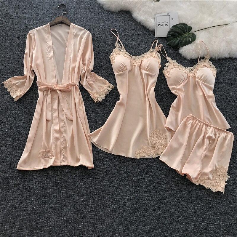 2018 Voplidia Four-piece Sexy Women Pijama Feminin Pajamas Set New Nightgown Set Sleepwear Pajamas Pijama Feminino Pyjama