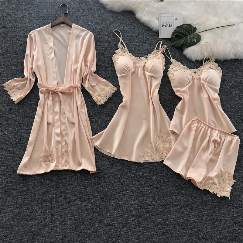 2018 Voplidia Four-piece Sexy Women Pijama Feminin   Pajamas     Set   New Nightgown   Set   Sleepwear   Pajamas   Pijama Feminino Pyjama