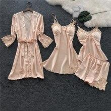 Voplidia Womens Pajamas Set Robe Gown Sleepwear Pink Sexy Pijama Lingerie Set Sleepwear Pajamas For Women Two Piece Nightdress