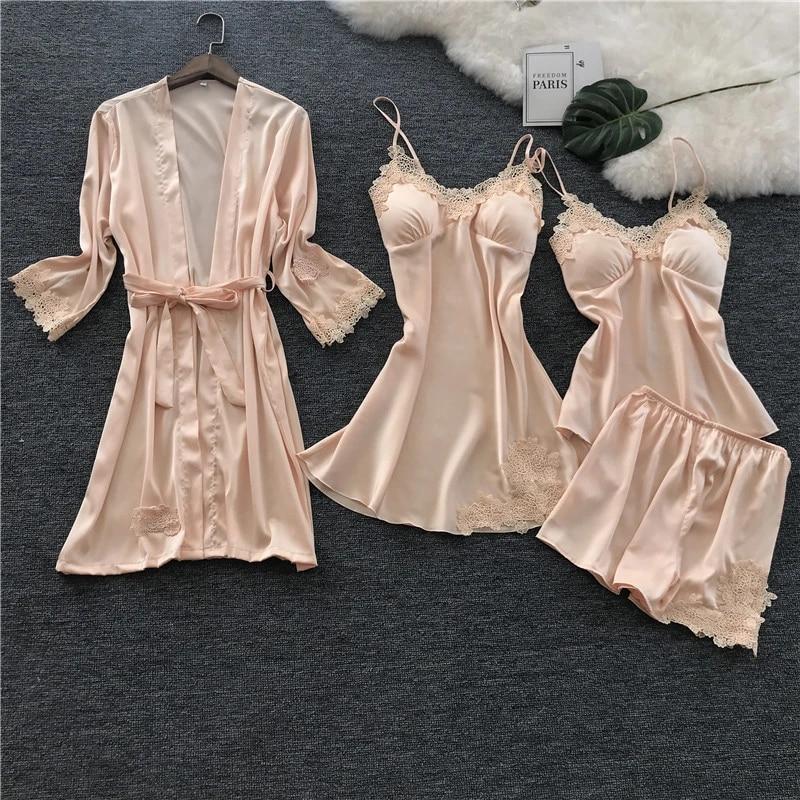 Voplidia Women S Pajamas Set Robe Gown Sleepwear Pink Sexy Pijama Lingerie Set Sleepwear Pajamas For Women Two Piece Nightdress Pajama Sets Aliexpress