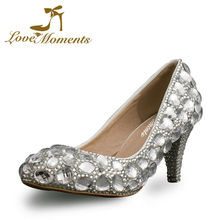 silver crystal diamond genuine leather wedding shoes 2 Inch low heel mother  of the bride shoes 320270571977
