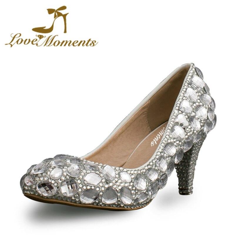Silver Crystal Diamond Genuine Leather Wedding Shoes 2