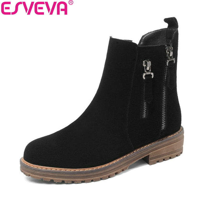 ESVEVA 2019 Women Boots Zippers Western Style Square Low Heels Spring Snow Boots Round Toe Shoes Concise Ladies Boots Size 34-43 esveva 2018 chunky women boots short plush square heels ankle boots round toe zippers spring and autumn ladies shoes size 34 43