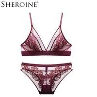 Sheroine Lace Bra Set Wire Free Women UnderwearTransparent Embroidery Lingerie Set
