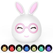 Premium 7 Colors Rabbit LED USB Children Animal Night Light Silicone Soft Cartoon Baby Nursery Lamp Breathing