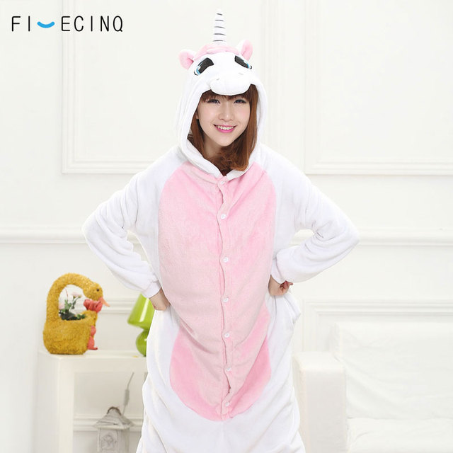 4e04d40e33 Women Unicorn Costume Adult Girl Pajama Animal Cartoon Cosplay Pink White  Sleep Jumpsuits Flannel Thick Warm Lovely Party Suit