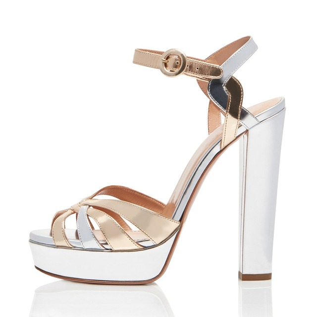 166e258d1cc Gold Sliver Patent Leather Platforms Women Strappy Sandals Peep Toe Chunky  Heel Evening Dress Heels Ladies Summer Shoes