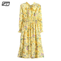 Fitaylor Spring Summer Print Floral Vintage Beach Dress Chiffon O Neck Full Sleeve Boho Style Long