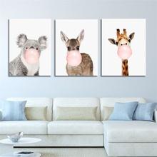 Laeacco Giraffe Mole Animal Posters and Prints Canvas Art Painting Wall Nursery Decorative Picture Nordic Style Kids Decor