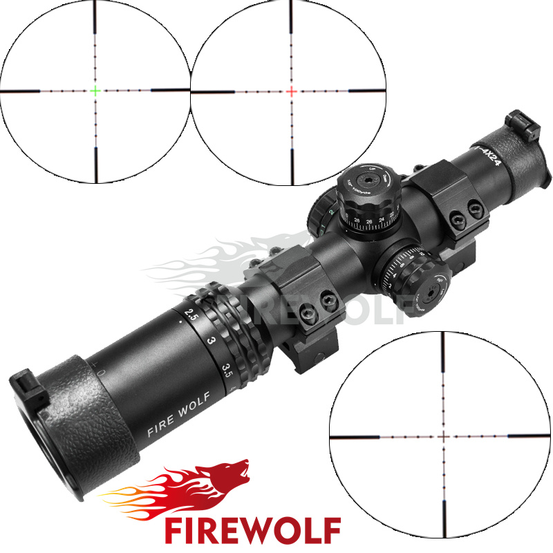 FRIE WOLF Silver 1-4X24 Riflescopes Rifle Scope Hunting Scope w/ Mounts fyzlicion hunting fire wolf 6 24x60 m1 riflescopes rifle scope scope free shipping