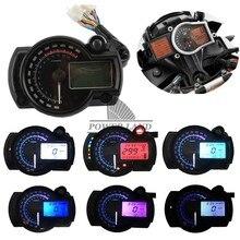 6colors Motorcycle 12V LCD Digital Backlight Tachometer Tacho Control Gauge Speedometer Odometer Universal For Kawasak Honda KTM for honda cbr400 nc29 speedometer tachometer tacho gauge instruments motorcycle parts