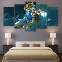 HD Printed 5 Piece Canvas Art Legend of Zelda Painting Game Poster Modular Wall Pictures For Living Room free shipping
