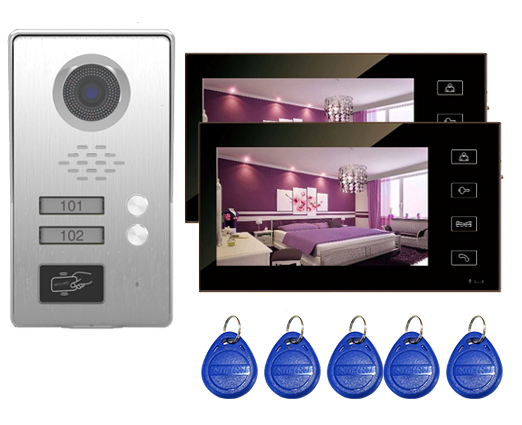 SMTVDP Top Quality TFT LCD Color 7Video Door Phone Doorbell IR Intercom Home Security Video System FRID Camera For 2-Apartments