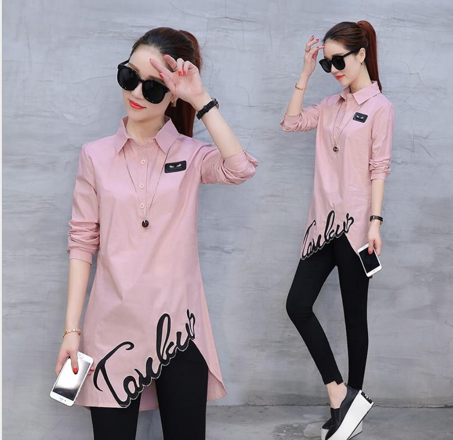 Cotton Shirt Tops 2019 Spring Autumn New Women's Blouse Fashion Long-sleeved Slim Wild Han Fan Shirt  201929
