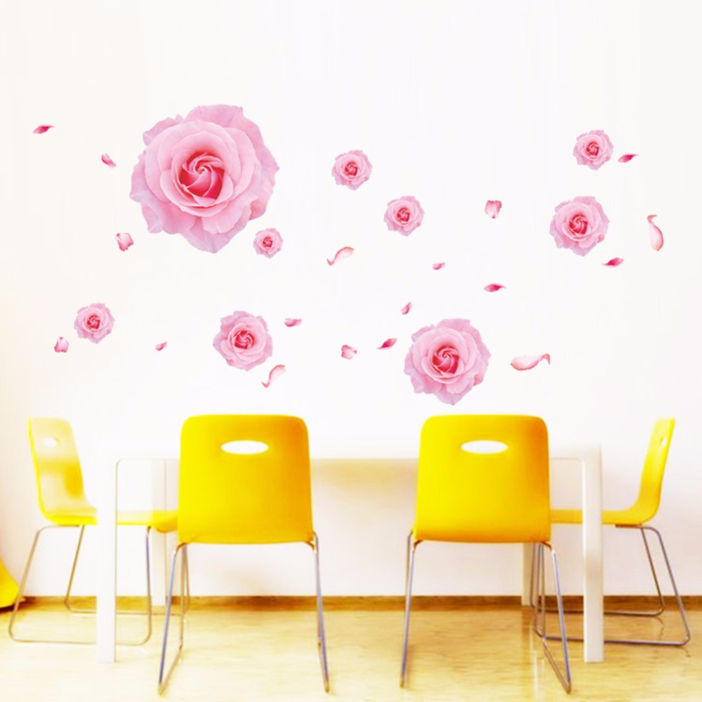 Pink Flowers Butterfly Bathroom Decor Removable Large Wall Stickers Princess Love Room Decoration Wall Art Poster