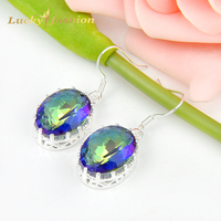 Promotion Jewelry Trendy Oval Fire Mystic Topaz 925 Sterling Silver Wedding Drop Earrings Russia USA Australia