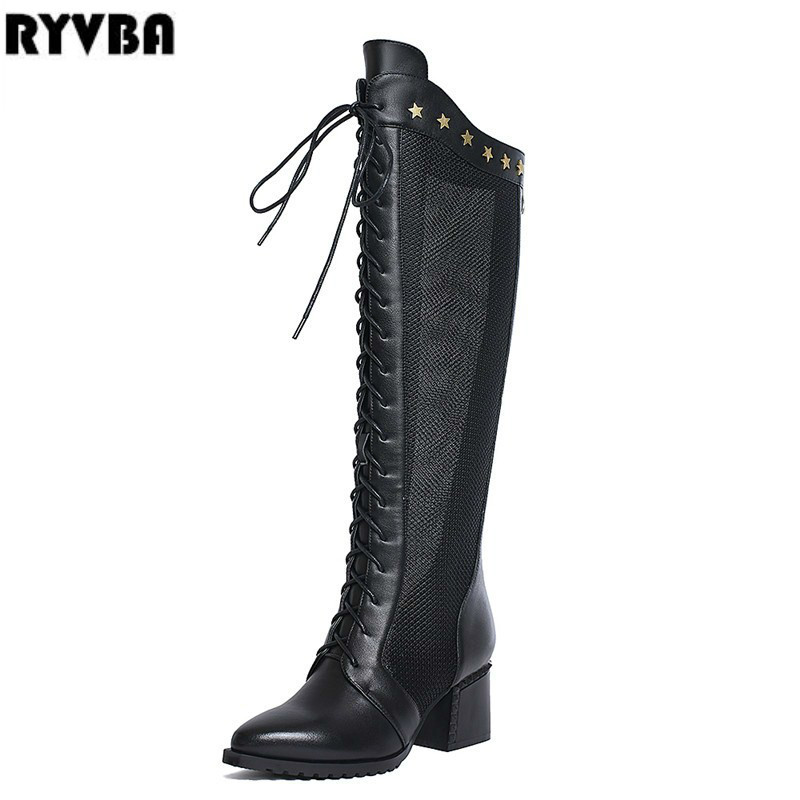 RYVBA 2018 women genuine leather PU summer boots womens square heels boots ladies pointed toe sandals woman cross tied shoes купить