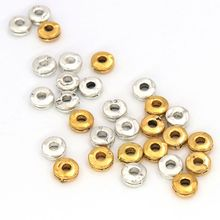 50pcs Antique Gold Silver Round Loose Spacer Metal Beads Gasket For Jewelry Finding Necklace Bracelet DIY Accessories