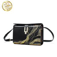 Genuine Leather handbag Pmsix 2016 fashion Chinese style shoulder bag Printing small square package