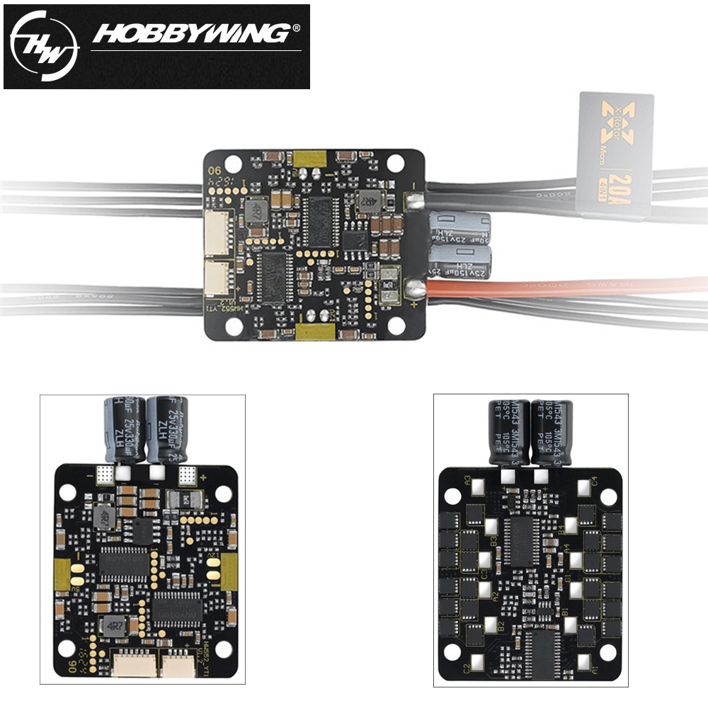 1pcs Hobbywing Xrotor 12A/20A 4IN1 Micro Brushless ESC Speed Controller Support oneshot125 For RC drone hobbywing xrotor blheli s dshot600 30a esc support pwm 2 4s lipo mini brushless esc speed controller for rc racer drone f21520