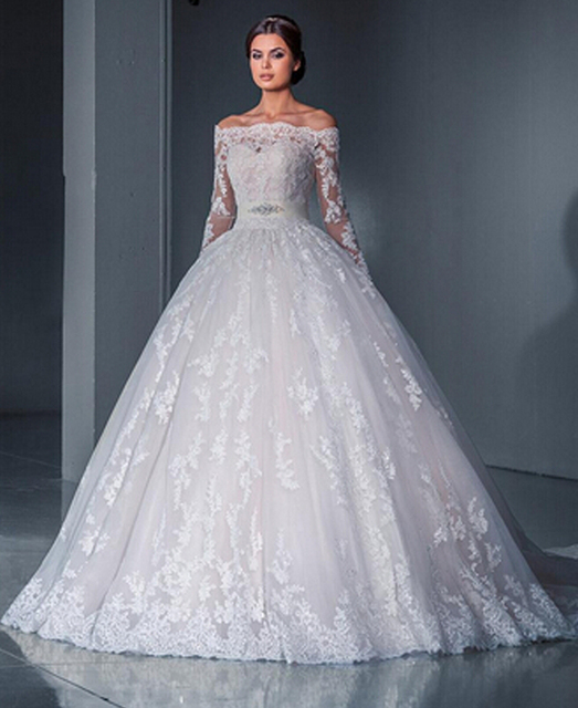 Wedding Dresses With Lace Sleeves 2017 : Aliexpress buy ball gown princess lace wedding