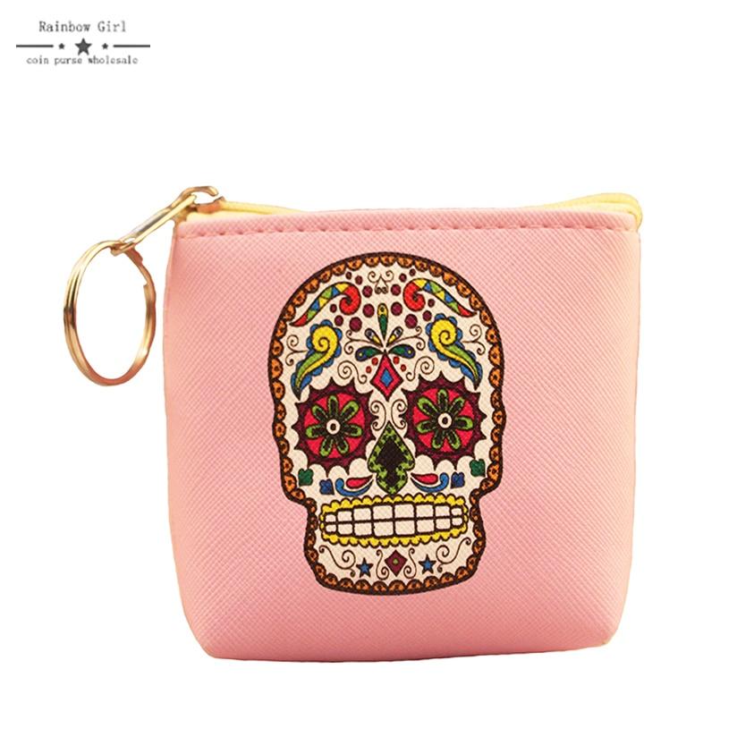 все цены на Rainbowgirl 2017 new coin Creative Skull purse animal picture women purse small coin women bag wallet for children онлайн