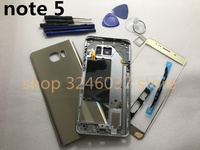 Full Housing Case Back Cover + Front Screen Glass Lens + Middle Frame For Samsung Galaxy note 5 N920 N920F Complete Parts