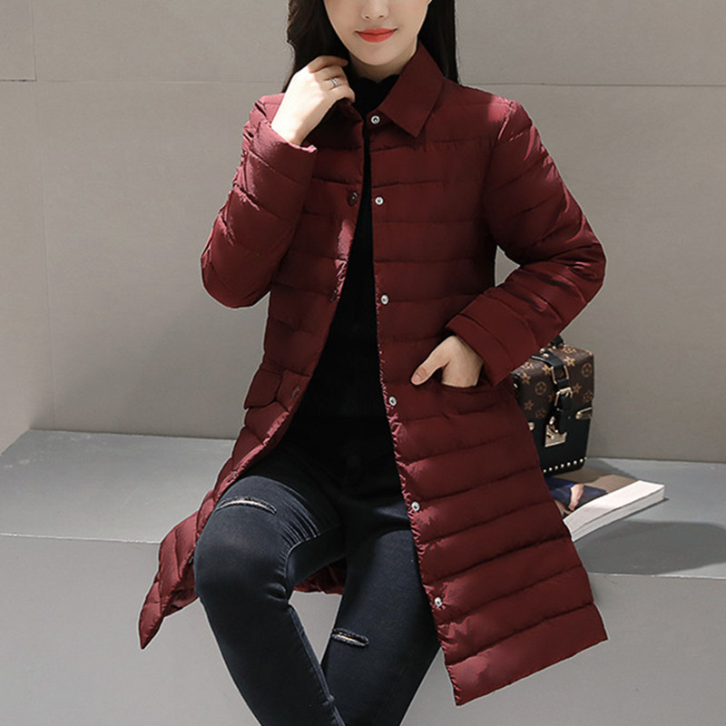 2017 New Autumn Parka Jacket Women Winter Coat Womens Medium-Long Cotton Padded Warm Slim Jacket Coat High Quality Hot Sale hot autumn womens slim wool warm coat parka navy blue size s xl light tan red navy