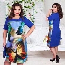 2016 6XL Bayanlar Moda Elbiseler 2016 Yarım O-Boyun Baskı Bayanlar Elbise Yaz Hanım Rahat Ofis Vestido Artı Boyutu 6XL