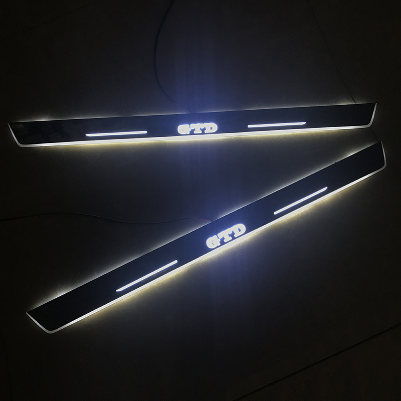 SNCN <font><b>LED</b></font> Car Scuff Plate <font><b>Trim</b></font> Pedal Door Sill Pathway Moving Welcome Light For VW Volkswagen <font><b>Golf</b></font> 7 GTD 2014-2016 Accessories image