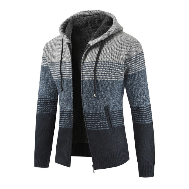 FeiTong Knitting Hoodie Sweatshirt Winter Streetwear Hoody Striped Sweat Pullover Zipper Hoodie Sweatshirts for Men Hip Hop