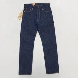 BOB DONG Vintage 14.5 oz heren Jean Zelfkant Straight Denim Broek Blauw ONGEWASSEN Denim Broek Voor Mannen Herfst Winter jeans