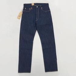 BOB DONG Vintage 14.5oz Men's Jean Selvage Straight Denim Pants Blue UNWASHED Denim Pants For Men Autumn Winter jeans