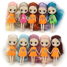 Mini blyth doll colour Medium hairstyle nude factory doll Suitable for diy change makeup fashion girl toys(China)