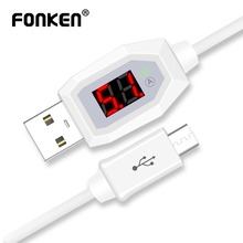 FONKEN Micro USB Cable Voltage Current Display USB Charger Data Cable Fast Charge Cord LED 9V 3A Charging Mobile Phone Cables