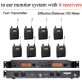 8 Pack Receivers +  Wireless In Ear Monitor System Twin Transmitter, Professional for 8 Musician in Church SR2050 IEM