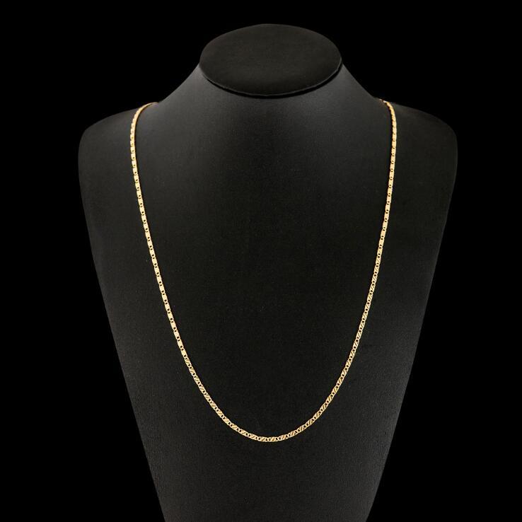 2MM Slim Women Men Silver/Gold Color Necklace Colar de Ouro prata Link Chains 16