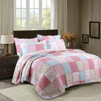 Top Quality 100% Cotton Boutis Patchwork Summer Quilt Pink Blue Quilted Bedspread Floral Aircondition Blanket Edredon dekbed