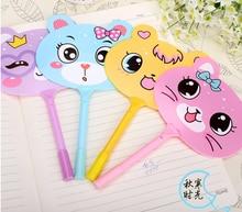 50pcs/lot  happy life toy ball pen Rabbit Korea Stationery Cartoon Animals Fan Ball Pen colour random
