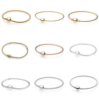 925 Sterling Silver Snake Chain Basic Bracelets Rose Gold Gold Color Round Shape Buckle For Women Diy Charms Jewelry