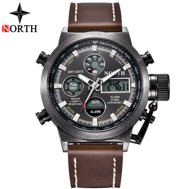 NORTH Fashion Brand Men Watches Quartz Digital Analog Watch Men Casual Military Sport LED Electronic Wrist Watch for Men Husband 1