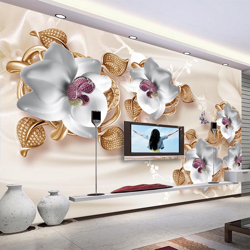 3D Wallpaper Modern European Style Stereo Jewelry Flower Photo Wall Murals Living Room Hotel Luxury Wallpaper Papel De Parede 3D custom 3d stereo wallpaper murals window outside european scenery living room tv wall decoration painting papel de parede 3d
