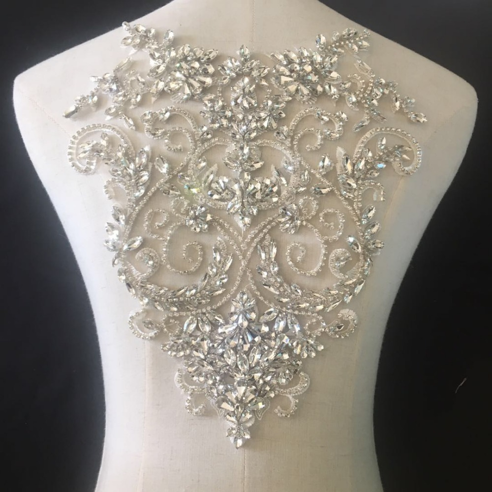Pure Hand Made Clear Crystal Rhinestone Beaded Bridal Bodice Applique for Wedding Belt Bridal Sash ,Haute Couture Aceessories